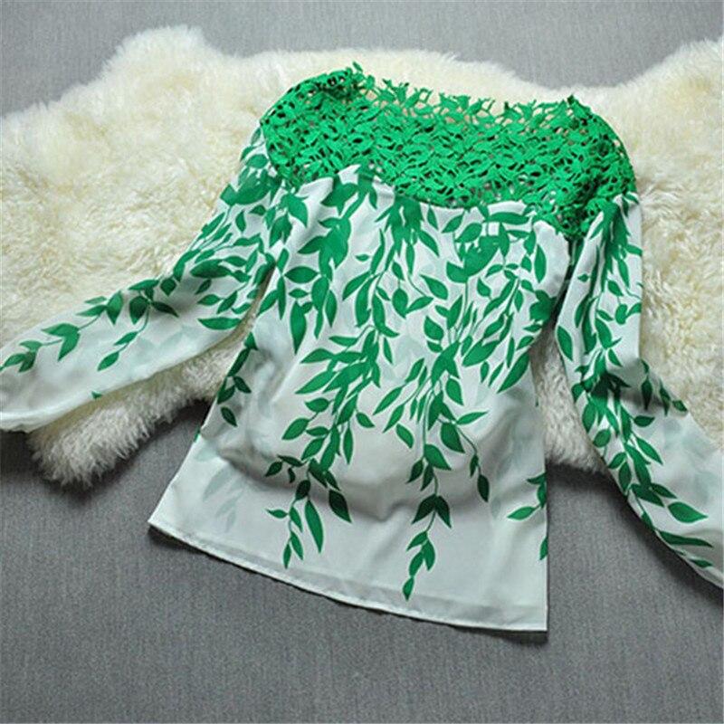 Fashion Lady Women Green Leaf Hollow Long Sleeve Blouse Lace Crochet Chiffon Top Long Sleeve Shirt AY2