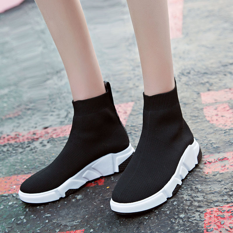 2018 new style Autumn Winter WOMens Fashion Slip On Shoes High Top Casual Fly Weave High Top Sock Warm Shoes paddington on top