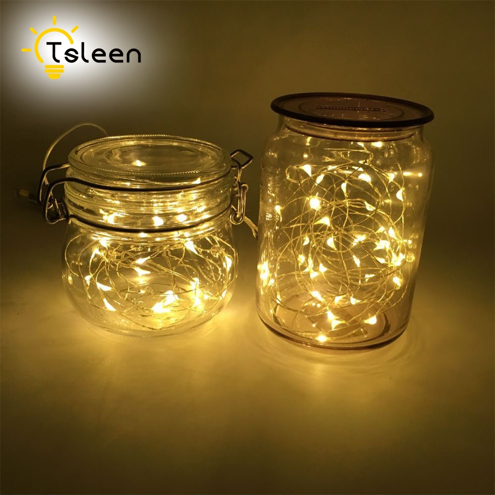TSLEEN 10M 100 LED String Lights Waterproof LED Strip 2M 3M 5M Silver Wire Battery Outdoor