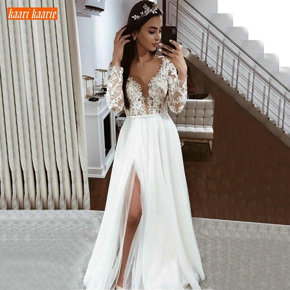Élégant Boho Tulle blanc robes de mariée à manches longues en dentelle Appliques côté fente robes de mariée ivoire pays plage couture robe nouveau