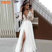 Elegant Boho Tulle White Wedding Dresses Long Sleeve Lace Appliques Side Slit Bridal Gowns Ivory Country Beach Sedding Dress New