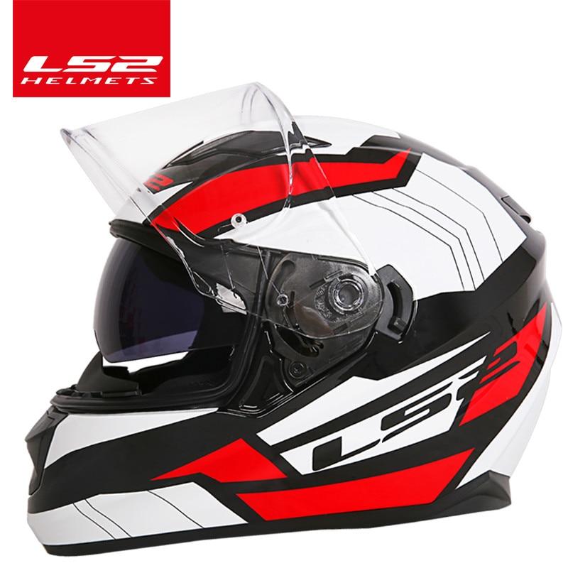 LS2 Magasin Mondial LS2 FF328 Flux moto rcycle casque double lentille casque intégré pare-soleil casque moto casque Approuvé DOT