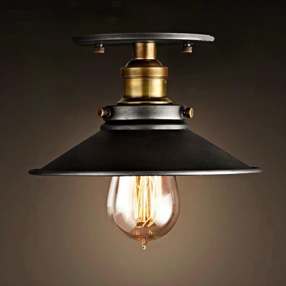 ФОТО Loft Vintage Ceiling Lamp Round Retro Ceiling Light Industrial Design Edison Bulb Antique Lampshade Ambilight Lighting Fixture