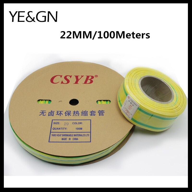 (100 mètres/lot) 22mm Diamètre Intérieur Jaune et Vert Double Couleur Thermorétractables Tubes Isolation Câble Manches