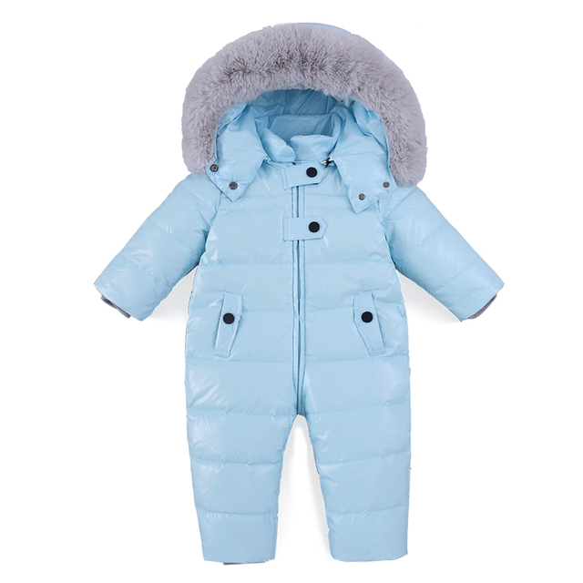 Baby Romper Winter Girl Boy Snowsuit Thermal Duck Down Fur Hooded Jumpsuit Newborn Kids Winter Climb Clothes Ski Suit Overalls
