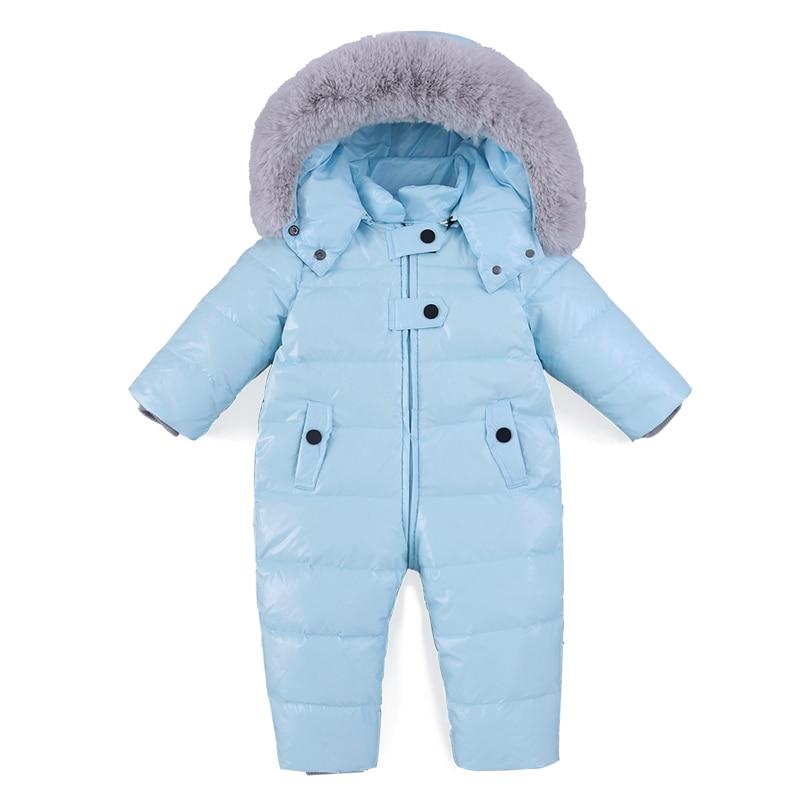 Barboteuse bébé hiver fille garçon Snowsuit thermique canard en duvet de fourrure combinaison à capuche nouveau-né enfants hiver escalade vêtements combinaison de Ski