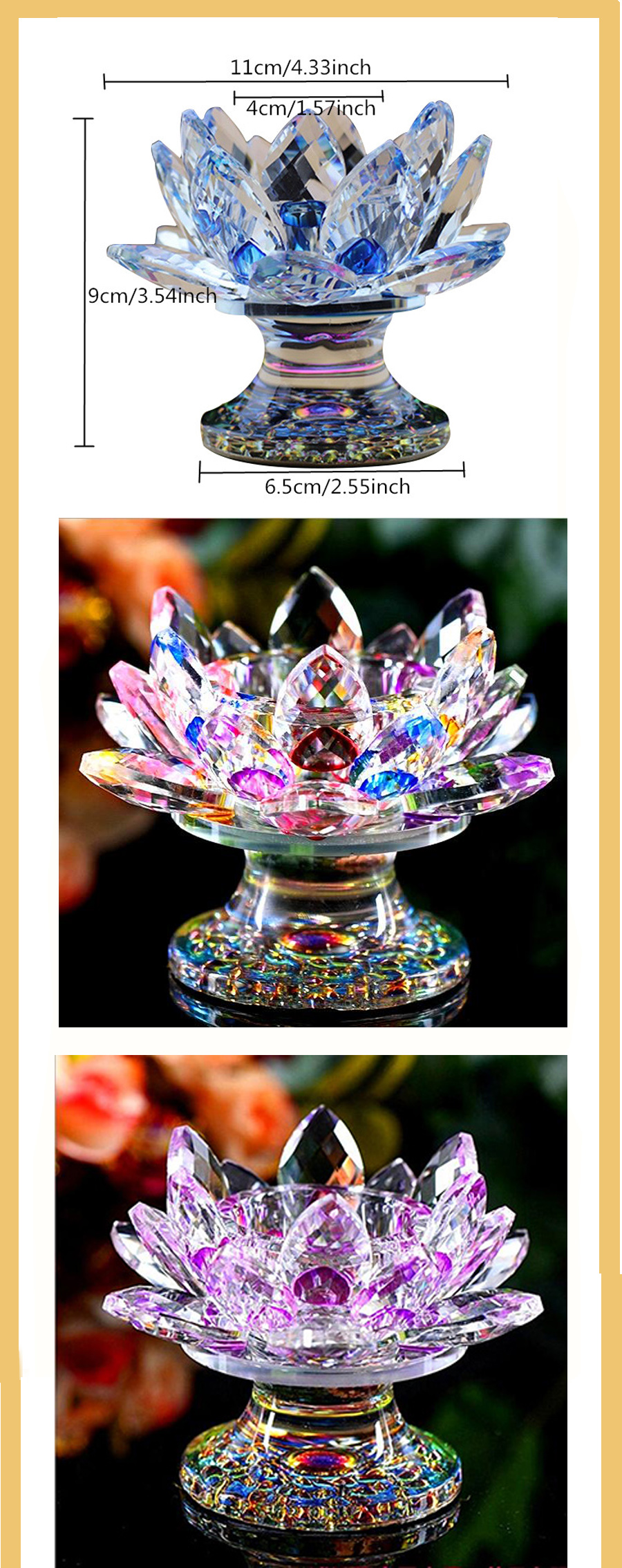 Precise Handmade Crystal Lotus Flower Candlestick Miniature Crystal Craft Glass Candle Holder Home Decor Accessories Ornament Gift 100% High Quality Materials Candle Holders