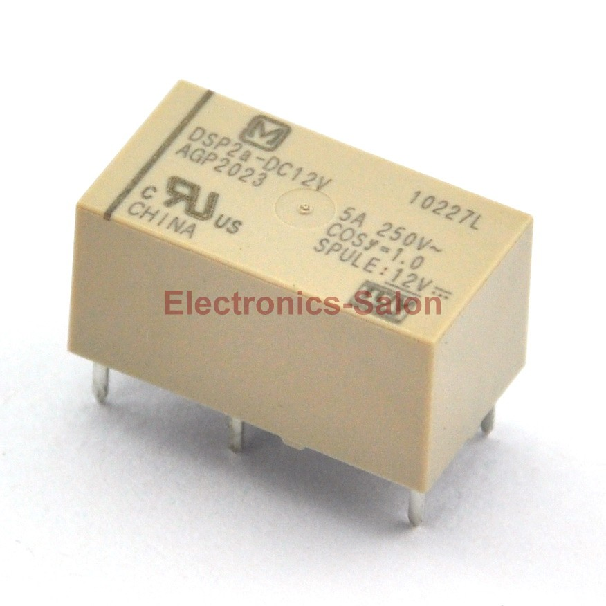 ( 2 Pcs/lot )  DSP2a-DC12V Small Polarized Power Relay, 2 Form A, DPST.