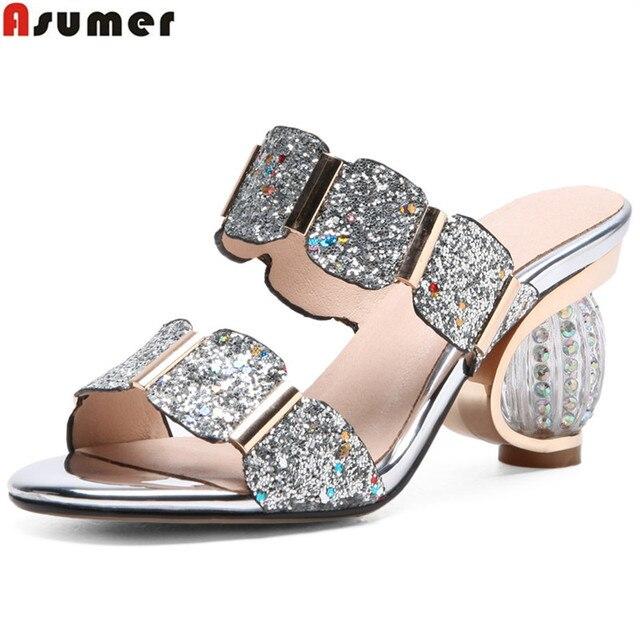 ASUMER 2019 fashion summer ladies slippers elegant comfortable Rhinestone prom wedding shoes women mules black big size 33-43