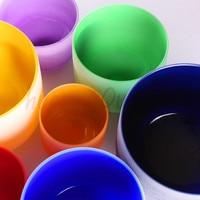 Color Chakra Tuned Set Of 7pcs 8 14 Frosted Quartz Crystal Singing Bowl