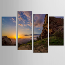 Home decoration painting modern art painting mountain sunset 4 panel printing canvas painting decoration printing