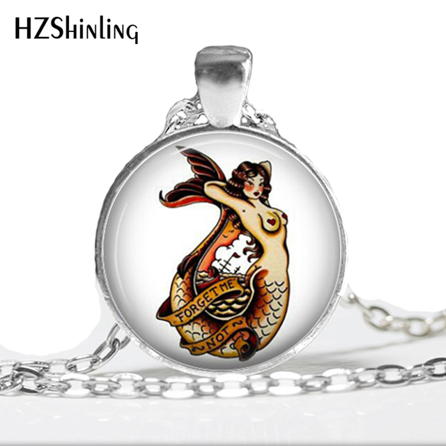 Hz a355 new mermaid pinup pendants sailor jewelry old school glass hz a355 new mermaid pinup pendants sailor jewelry old school glass necklace tattoo flash mozeypictures Gallery