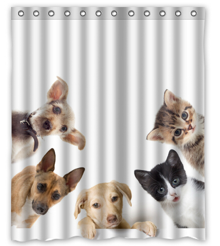 Dogs Cats Puppy Kittens Animals Printed Polyester Shower Curtain 60 X 72 Inch American Style Bathroom