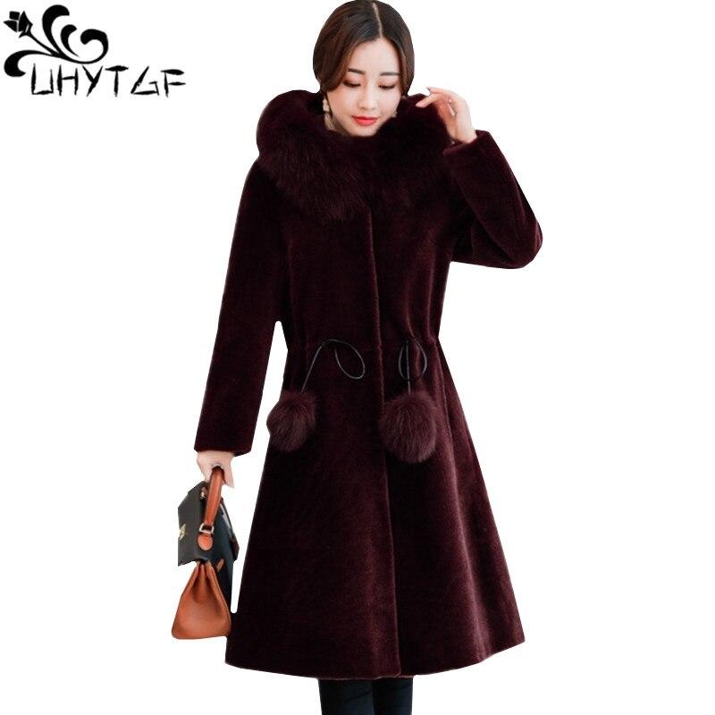 UHYTGF Fashion fox fur collar winter fur coat ladies Slim long Windproof Warm outerwear Sheep shearing