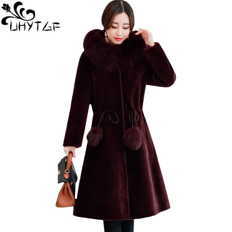 UHYTGF Fashion fox fur collar winter fur coat ladies Slim long Windproof Warm outerwear Sheep shearing Hooded coats Female 1114-in Faux Fur from Women's Clothing    1