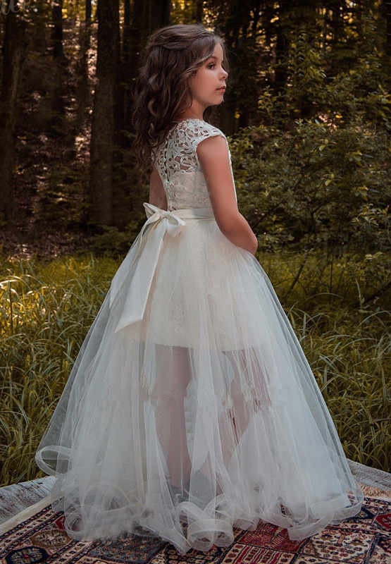 Платья цвета слоновой кости с цветочным узором для девочек на свадьбу; Пышное Платье для подростков; платье-юбка; платье для первого причастия; Vestidos De Comunion