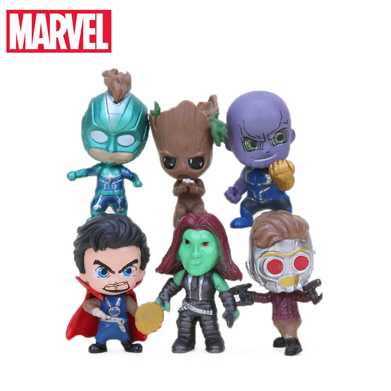 6pcs Q Version Avengers Figure Set Marvel Toys 3-4cm Thanos Captain Marvel Spiderman Star Lord Doctor Strange Model Dolls Toy(China)
