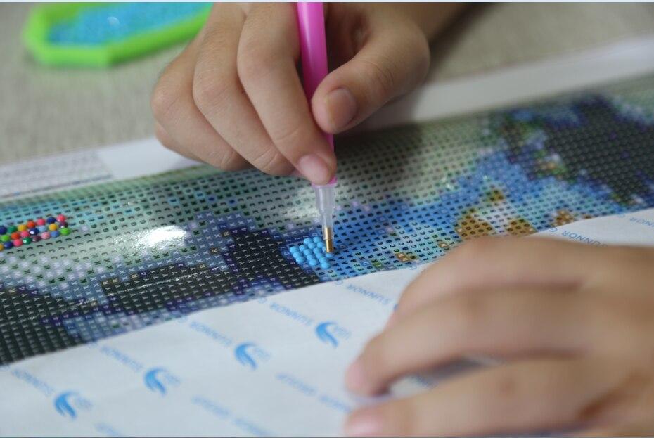Vỏ sò biển Sơn Kim Cương Cá Lớn Sơn Nước Biển Động Vật TỰ LÀM 3D Kim Cương Thêu Hình Ảnh Với Hạt Cho Vá