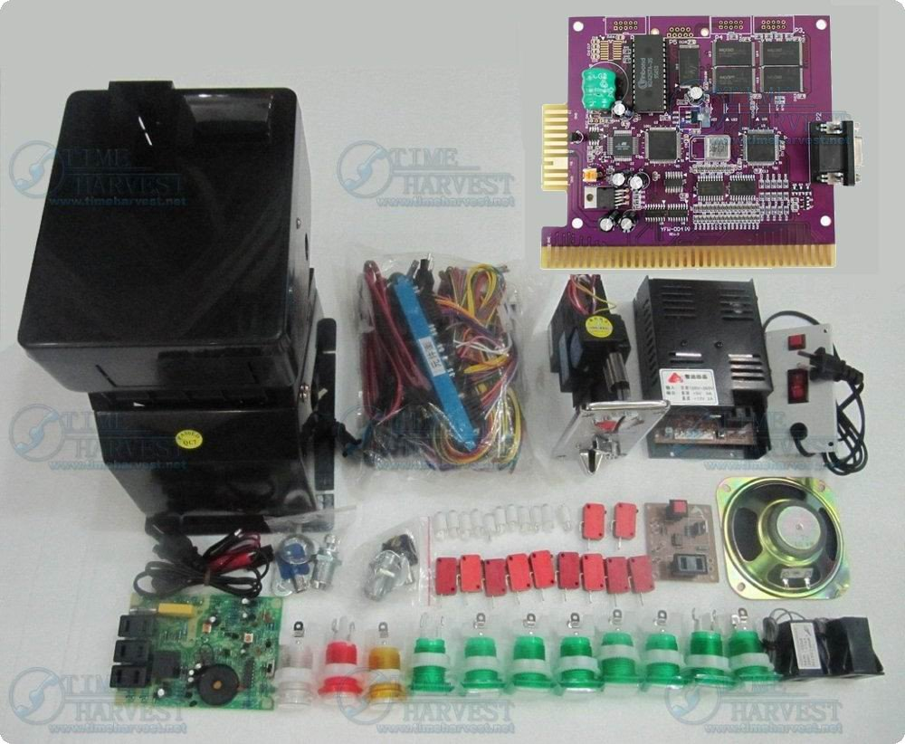 1 set Solt game kit Include The 6X PCB Coinhopper coin acceptor buttons harness . etc same as the photo for casino game machine lucky shot drinking roulette game 6 cup set