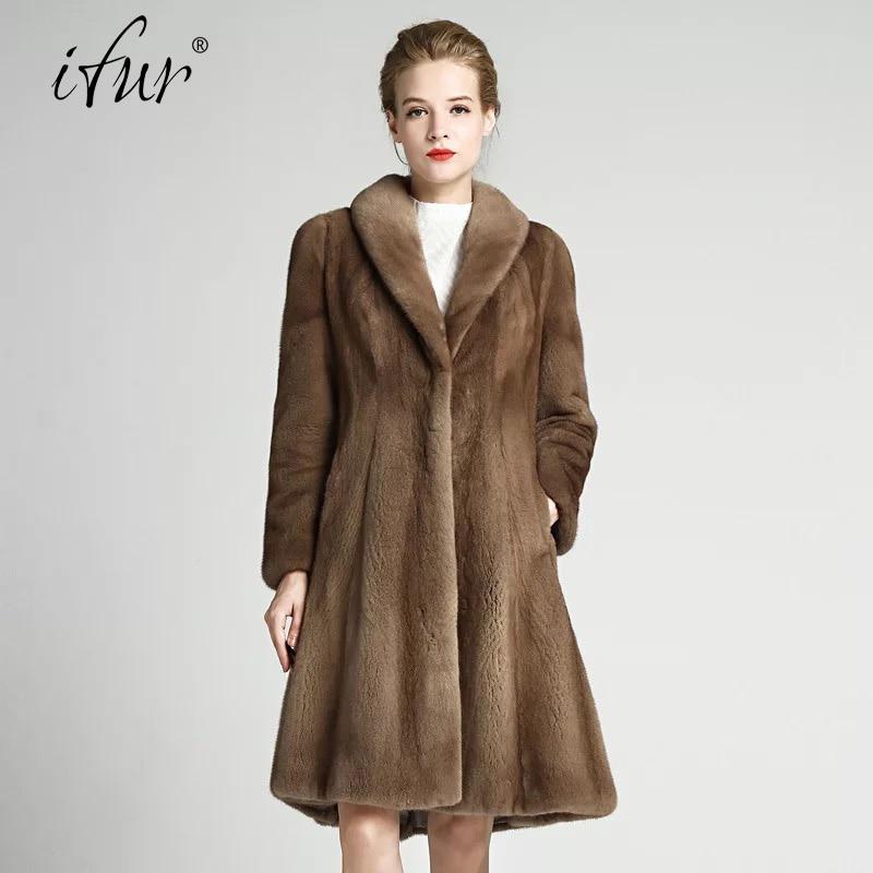 Femmes Style Fourrure Qualité Naturel Élégant Long Haute Lady 2017 Veste Importés Avec Vison Des Marron Hiver Ceintures Manteau De Luxe Marque q8cXWpg1