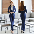 Formal Uniform Design Female Pantsuits Autumn And Winter Professional Work Wear Ladies Office Trousers Set Blazers Pants Suits