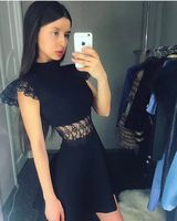 2019 High quality new arrival black Lace bandage dress high neck short sleeve A line Sexy mini Party summer dress F 125