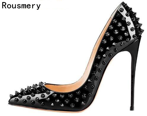 New Women Pumps Pointed Toe High Heels Shoes Luxury Designer Rivets Shoes Wedding Bridal Shoes Women's Shoes With Heels D051 new women pumps shoes high heels 12cm luxury designer patent leather wedding bridal shoes sexy women s shoes with heels b 0052