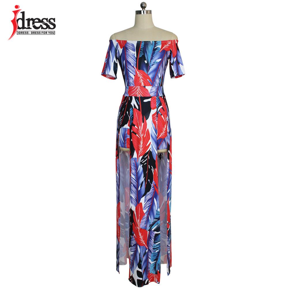 IDress Fashion 2017 Hot Sale Plus Size Casual Slash Neck Pattern Feather Slit Women Maxi Dresses Off the Shoulder Long Dress Vestidos (5)