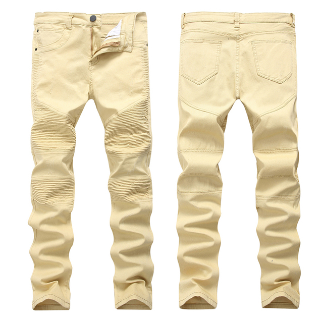 991b00fe2bd Khaki Skinny Denim Moto Jeans Stretch Men Biker Ripped Jeans For Men Size  42 Diestressed Slim Famous Kanye Broken Pants