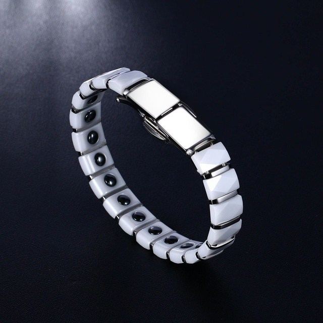 Stainless Steel White Ceramic Inlay magnetic Health Bracelet