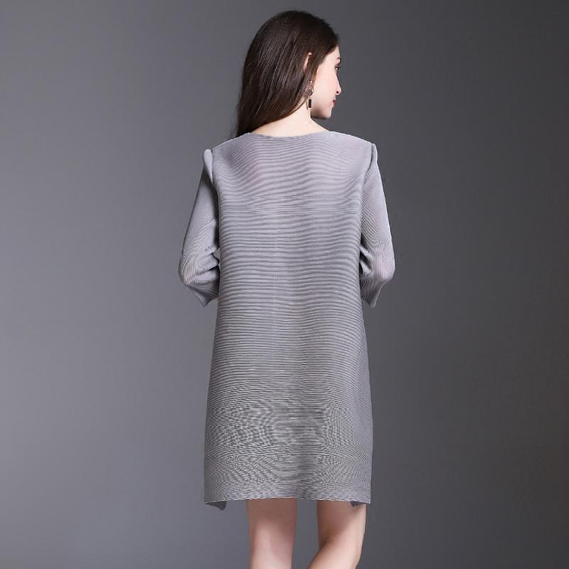 Miyake piega del vestito della molla delle donne nuovo stampato a pieghe vestito lungo di stile nazionale di trasporto libero - 3