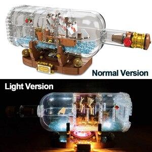 Image 1 - Lepinblocks корабль со светодиодсветильник кой Лодка в бутылке 21313 техника идеи Lepining Playmobil строительные блоки кирпичи детские игрушки для детей