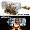 Lepinblocks LED Light Ship Boat In A Bottle 21313 Technic Ideas Lepining Playmobil Building Blocks Bricks Kids Toys For Children