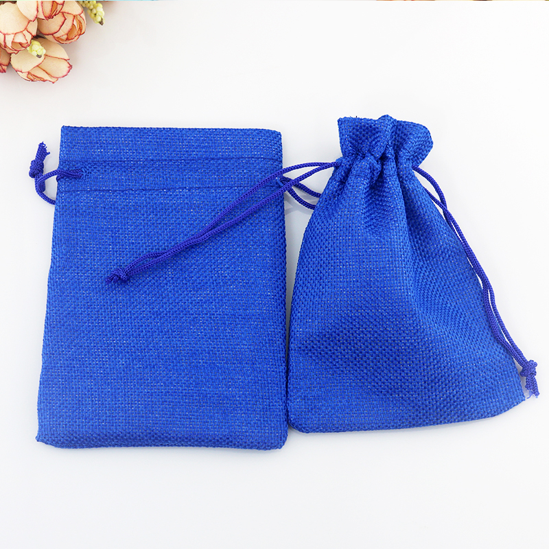 10pcs Royal Blue Color Vintage Natural Burlap Jute Gift Candy Bags Wedding Party Favor Gift Pouch Jute Gift Bags 15x20cm Supply