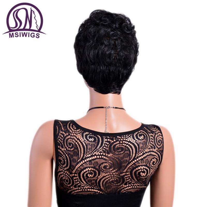 MSIWIGS Front Curly Back Straight Korta Paryk med Bangs Natural Black - Syntetiskt hår - Foto 3