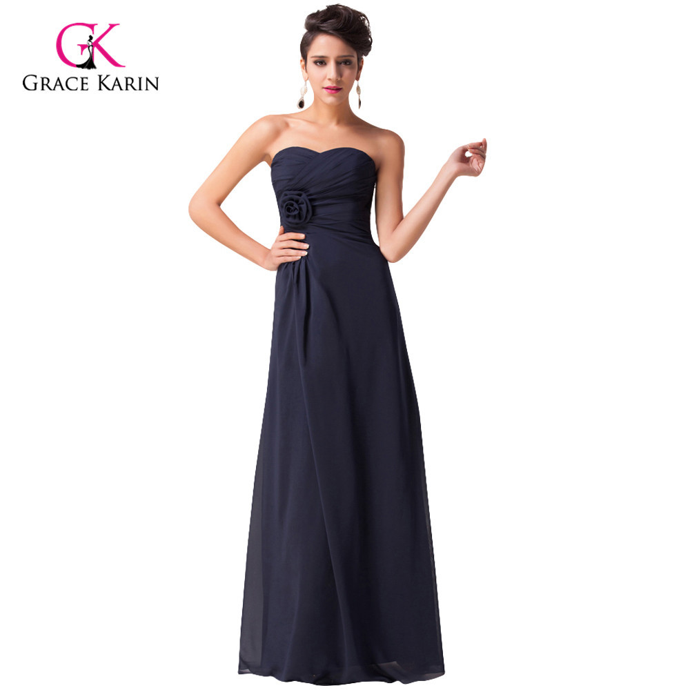 d4932bb331e0 Grace Karin Navy blue Chiffon Long Formal Evening Dresses Gowns Strapless Sweetheart  Prom Dresses Dinner party Dress CL3442