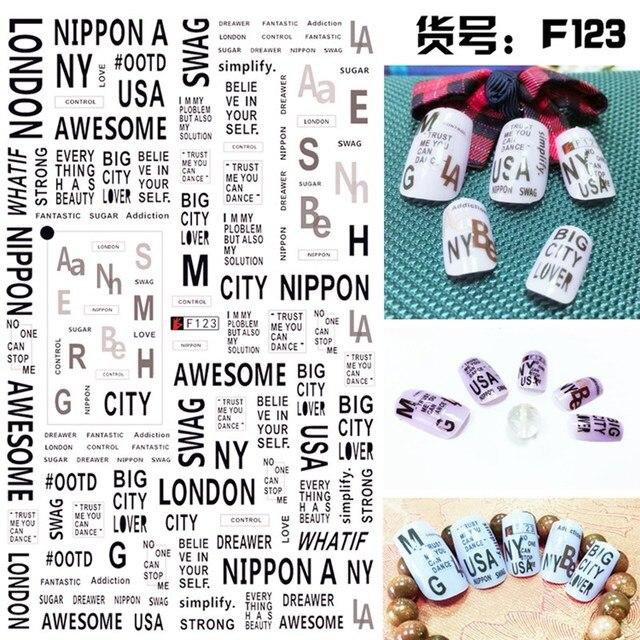 1 Sheet 3D Unique English Letter Alphabet Love London NY Pattern Adhesive Nail Art Stickers Decorations DIY Salon Tips F120-124#