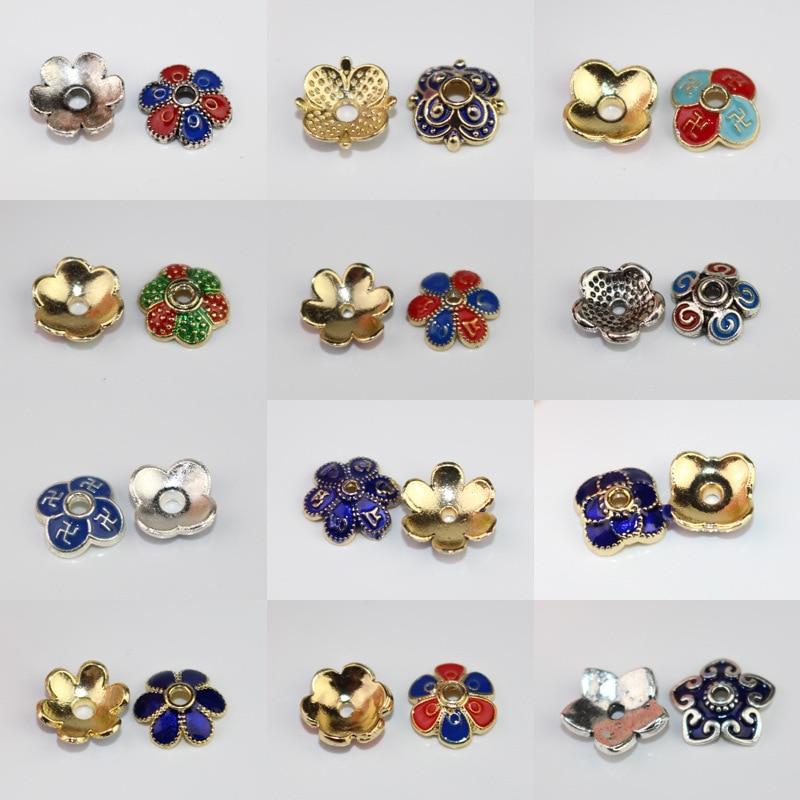 10pcs Antique Silver Flower Shape Enamel End Caps Beads Tassel Jewelry Findings