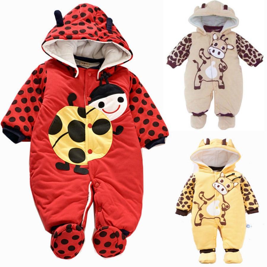 Baby Footies Nowonarodzone chłopcy Dziewczyny Zimowe ubrania Moda niemowlęca Bawełna Charakter Odzież Unisex Maluch Jesień Kombinezon z kapturem