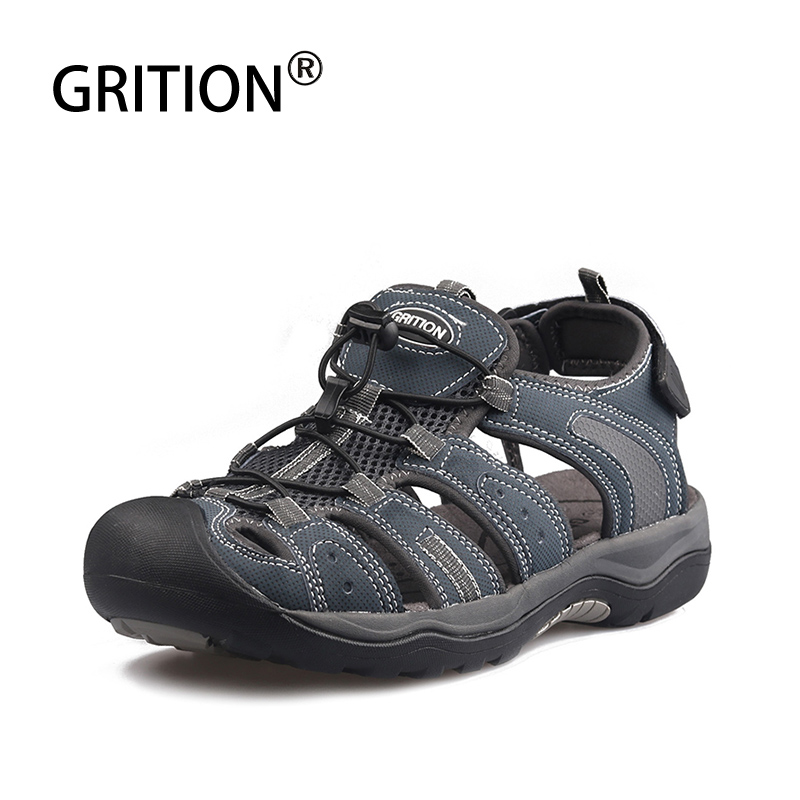 GRITION Men Sandals Outdoor Casual Sport Hiking Shoes Beach Protective Toecap Comfort Leather Flat Summer Sandals Big Size 46