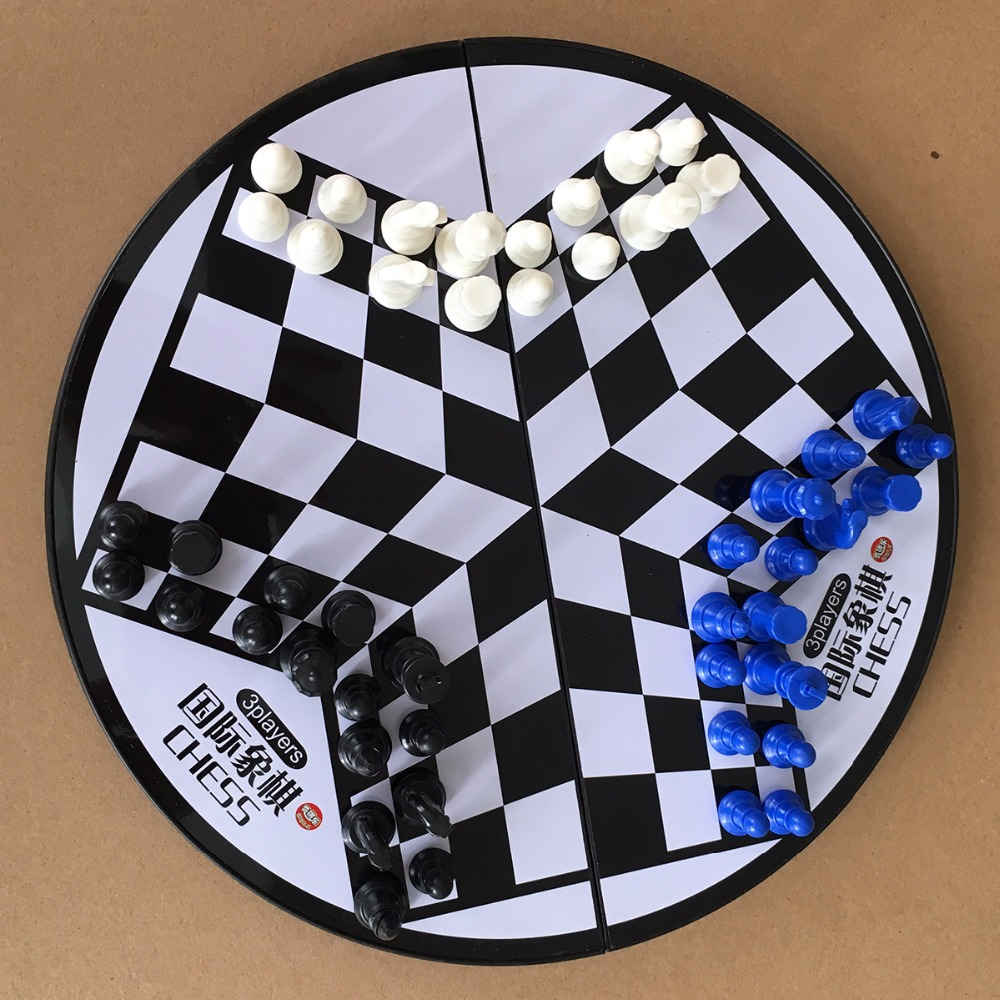 Pleasure Chess 3Players Magnetic Folding Board Set Portable Folding Board Chesses Game F ...