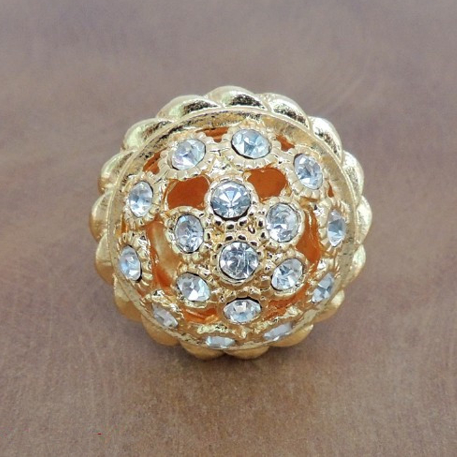 Gold Crystal Cabinet Knobs with Shiny Diamond Kitchen Hardware