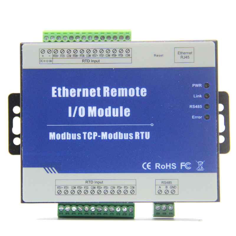 Modbus TCP to Ethernet Remote I/O Module with 8 RTD inputs Supports PT100/PT1000 Resistance Sensor M340T