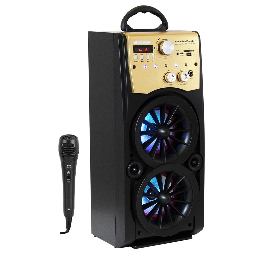 Karaoke Portable Bluetooth Speaker HIFI with Microfono High Power with FM Radio LED Light for Parties