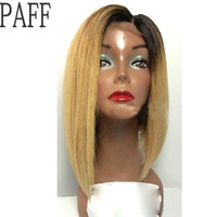 PAFF Ombre Straight Lace Front Human Hair Wigs For Black Women Brazilian Remy Hair Two Tone Short Bob Wigs Pre Plucked Hairline