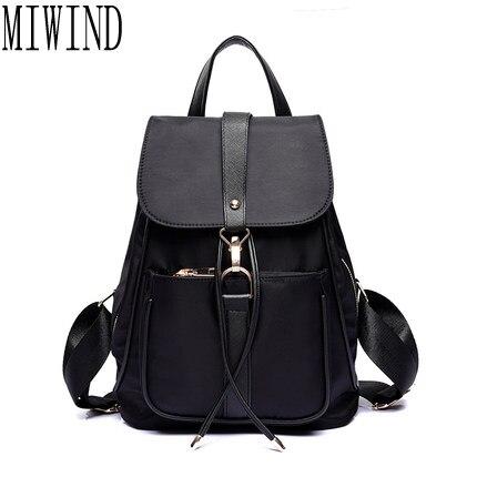 MIWIND Hot Fashion Waterproof Nylon Women Backpacks Black Solid Fashion Travel Bag Big Capacity Casual feminine