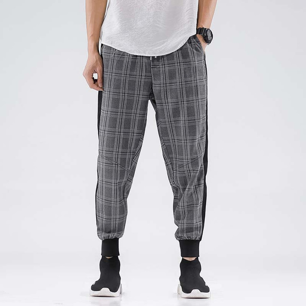Pants Men Summer New Style Leisure Checkered Nine-Minute Trousers Streetwear Large Size Cargo Pants Men pantalones hombre(China)