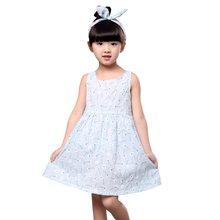 Baby Girl Sleeveless Printed Pattern Bowknot Dresses Cotton Princess Dress 2016