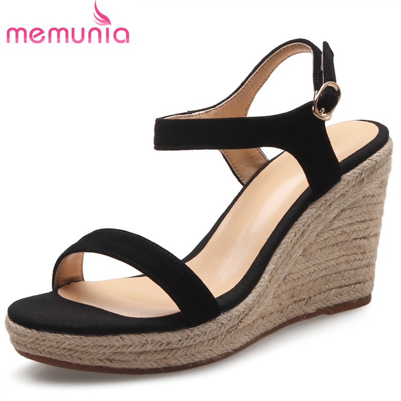 MEMUNIA Wedges shoes woman fashion platform shoes in summer sandals women cow suede party shoes TPR buckle super high 2017 suede gladiator sandals platform wedges summer creepers casual buckle shoes woman sexy fashion beige high heels k13w