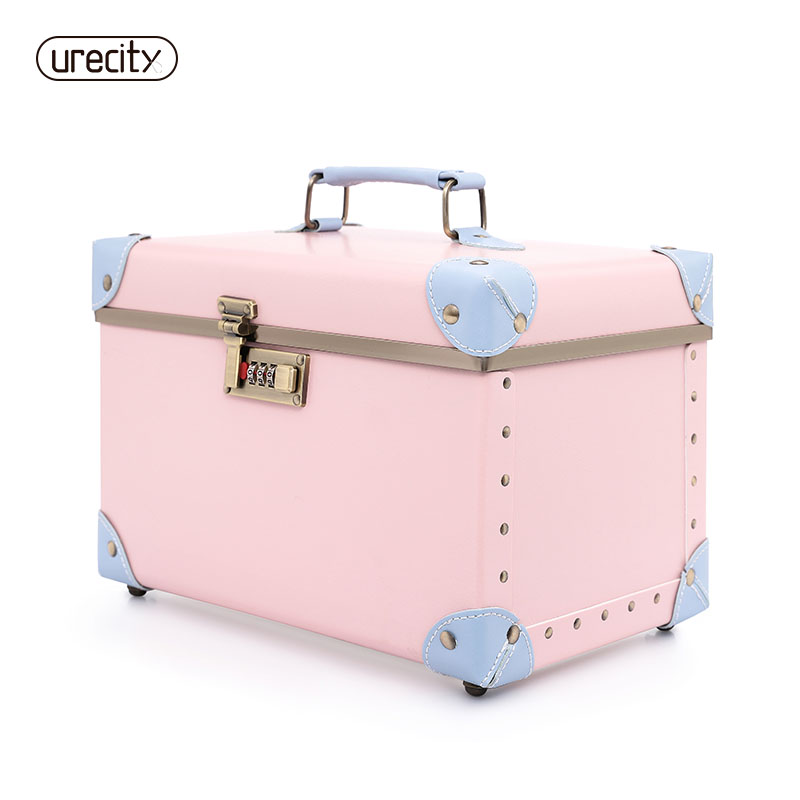 2018 women cosmetic case lady cosmetic storage box bag PU handmade handle box case hand bag high quality free shipping